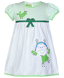 Babyhug Short Sleeves Frock Green - Print And Embroidery