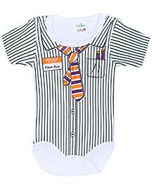 Babyhug Half Sleeves Romper with Shirt Styling - Dark Green and White