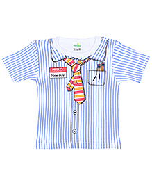 Babyhug Half Sleeves T-Shirt with Shirt Styling - Blue and White