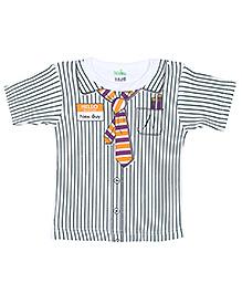 Babyhug Half Sleeves T-Shirt with Shirt Styling - Dark Green and White