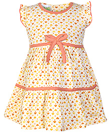 Babyhug Cap Ruffles Sleeves with Heart Print - Orange
