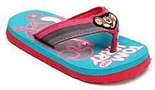 Tom and Jerry Flip Flop with Jerry Applique on Strap - Blue and Pink