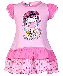 Babyhug Puff Sleeves with Girl Print - Pink