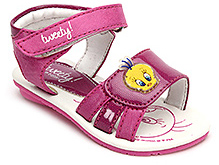 Tweety Sandals with Velcro Strap and Tweety Applique - Pink