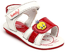 Tweety Sandals with Velcro Strap and Tweety Applique - Red and White