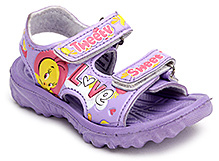 Tweety Flip Flop with Dual Velcro Strap - Purple