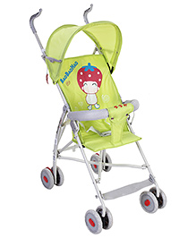 Fab N Funky Stroller With Baby Strawberry Print - Green