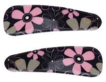 Fab N Funky Tik Tak Hair Clips Floral Print Pack Of 2 - Black - 5 X 1.5 Cm