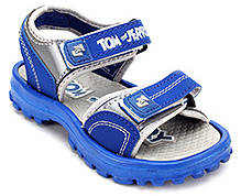 Tom and Jerry Sandal with Dual Velcro Strap - Blue and Grey