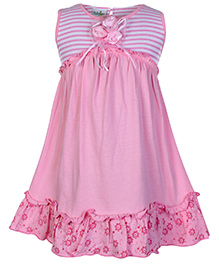 Babyhug Sleeveless Frock With Flower Applique - Pink