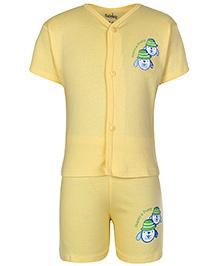 Babyhug Half Sleeves Printed T-Shirt And Shorts Set - Yellow