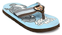 Tom and Jerry Flip Flop with Jerry Applique on Strap - Sky Blue and Brown