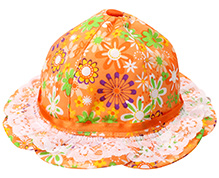 1st Step Hat With Lace And Net Flower Print - Orange
