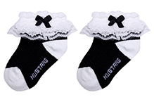 Mustang Ankle Length Socks With Bow And Lace Detail - Black