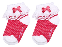 Mustang Ankle Length Socks With Bow And Lace Detail - Light Pink