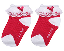 Mustang Ankle Length Socks With Bow And Lace Detail - Dark Pink