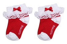 Mustang Ankle Length Socks With Bow And Lace Detail - Red