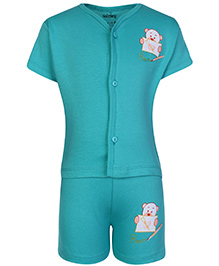 Babyhug Half Sleeves T-Shirt And Shorts Dark Aqua - Bear Print