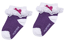 Mustang Ankle Length Socks With Bow And Lace Detail - Purple