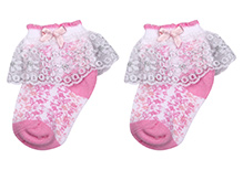 Mustang Ankle Length Socks With Overlay Lace Detail - Light Pink