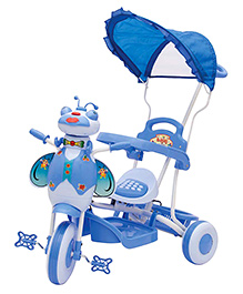 Bajaj Cute Face Tricycle With Canopy - Blue And Pink