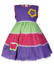 Babyhug Sleeveless Layered Frock With Flower Applique Purple