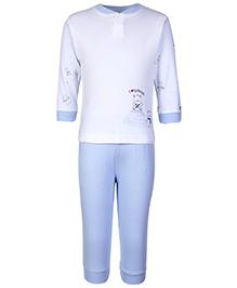 Zero Full Sleeves Night Suit Sky Blue - I Love Winter Print