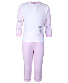 Zero Full Sleeves Night Suit Pink - I Love Winter Print