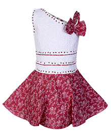 Babyhug Off Shoulder Frock With One Side Strap And Flower Applique - Red