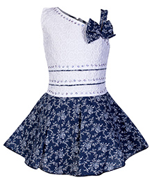 Babyhug Off Shoulder Frock With One Side Strap And Flower Applique - Navy Blue