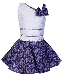 Babyhug Off Shoulder Frock With One Side Strap And Flower Applique - Purple