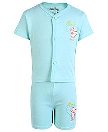 Babyhug Half Sleeves Front Open Night Suit Aqua Blue - Moms Gift Print