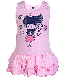 Teddy Sleeveless Frock - Cute Girl Print