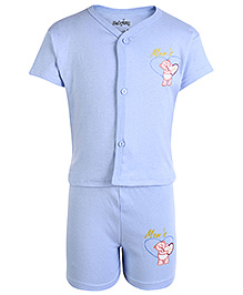 Babyhug Half Sleeves Front Open Night Suit Light Blue - Moms Gift Print