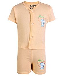 Babyhug Half Sleeves Front Open Night Suit Orange - Moms Gift Print