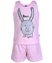 Teddy Sleeveless T-Shirt And Shorts - Pink