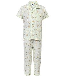 Teddy Half Sleeves Printed Night Suit -Light Green