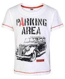 Teddy Half Sleeves T-Shirt White - Vintage Car Print