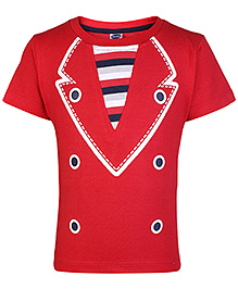 Teddy Half Sleeves T-Shirt with Suit Style Print - Red