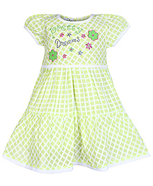 Babyhug Puffed Sleeves Frock with Pretty Dream Embroidery On Front - Green