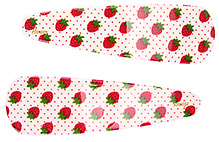 Fab N Funky Strawberry Print Snap Clips Cream And Red - 1 Pair - 7 X 2 Cm