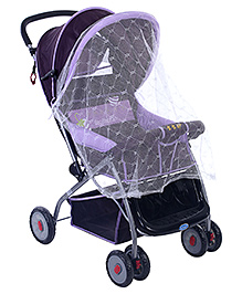 Fab N Funky Stroller With Mosquito Net - Purple and Black