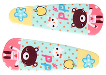 Fab N Funky Teddy Bear And Multi Print Snap Clips Pink And Yellow - 1 Pair - 5 X 1.5 Cm
