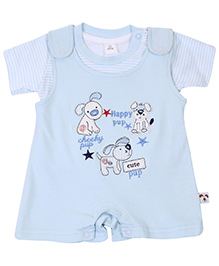 ToffyHouse Dungaree Style Romper With Half Sleeves T-Shirt - Light Blue