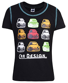 Teddy Half Sleeves T-Shirt with Car Print - Black