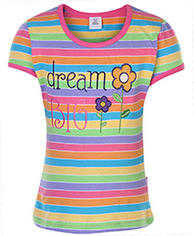 ToffyHouse Half Sleeves Stripe Printed Top - 3 To 4 Years