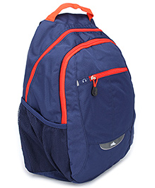 High Sierra Curved Back Pack With Contrast Color Zip - Blue