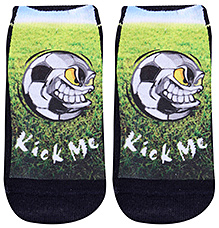 Mustang Ankle Length Socks Kick Me Print - Green And Black