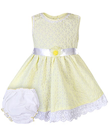 Babyhug Sleeveless Frock with Bloomer and Floral Motif on Waist - Yellow