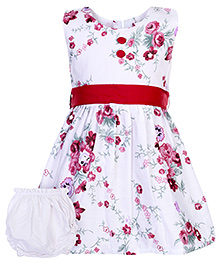 Babyhug Sleeveless Frock with Bloomer and Floral print - Red